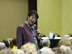 Heather Whittaker speaking at the Middleton Marriott