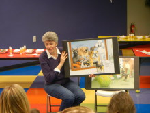 Children's book author Heather Whittaker presenting at the Building for Kids Children's Museum